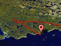 Final flight path of AESOP balloon