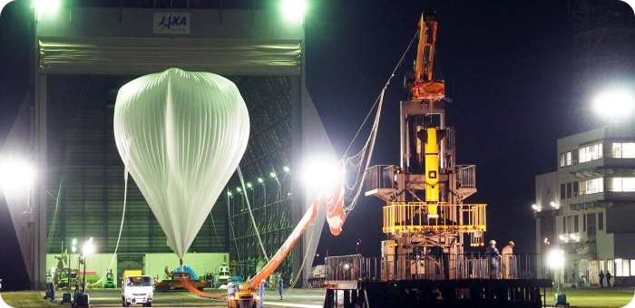 View of the inflation of the B300 balloon at Taiki (image copyright: ISAS/JAXA)