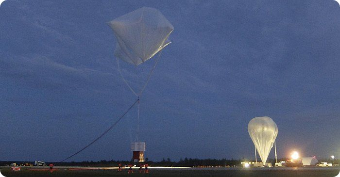 View of the inflation of the 400z balloon at Timmins (image copyright: CNES)