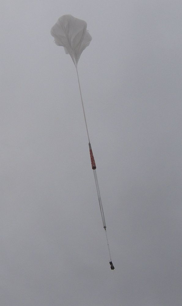 The balloon in his initial ascent phase before disapearing in the clouds (Credits: HASP team)