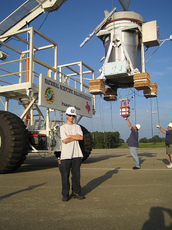 View of the instrument in his new configuration while is hanged by the Tiny Tim launch vehicle