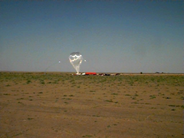 The balloon being inflated. Copyright: NOAA - LACE project