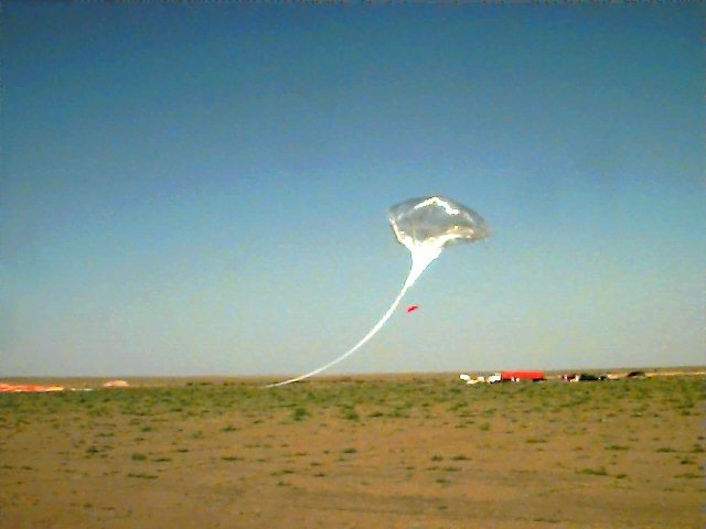 Seconds after the balloon was released from the spool. Copyright: NOAA - LACE project