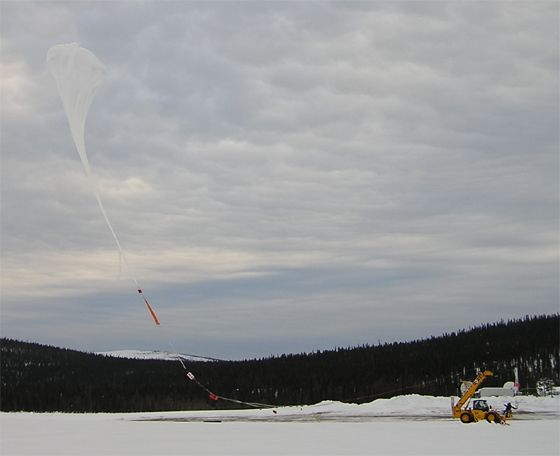 The balloon is released and moves fordward to the launch vehicle