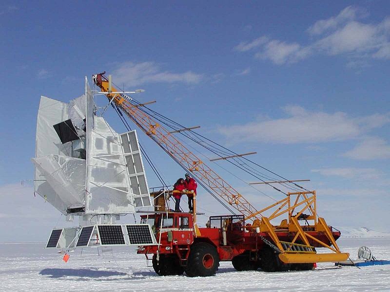 View of BOOMERANG hanging from the launch vehicle