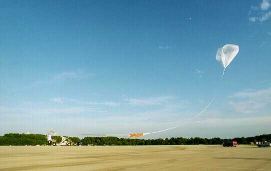 The balloon elevates to the launch vehicle