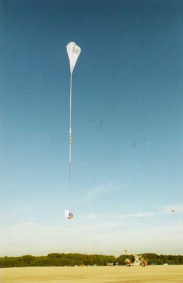 The payload is released and the balloon start to climb