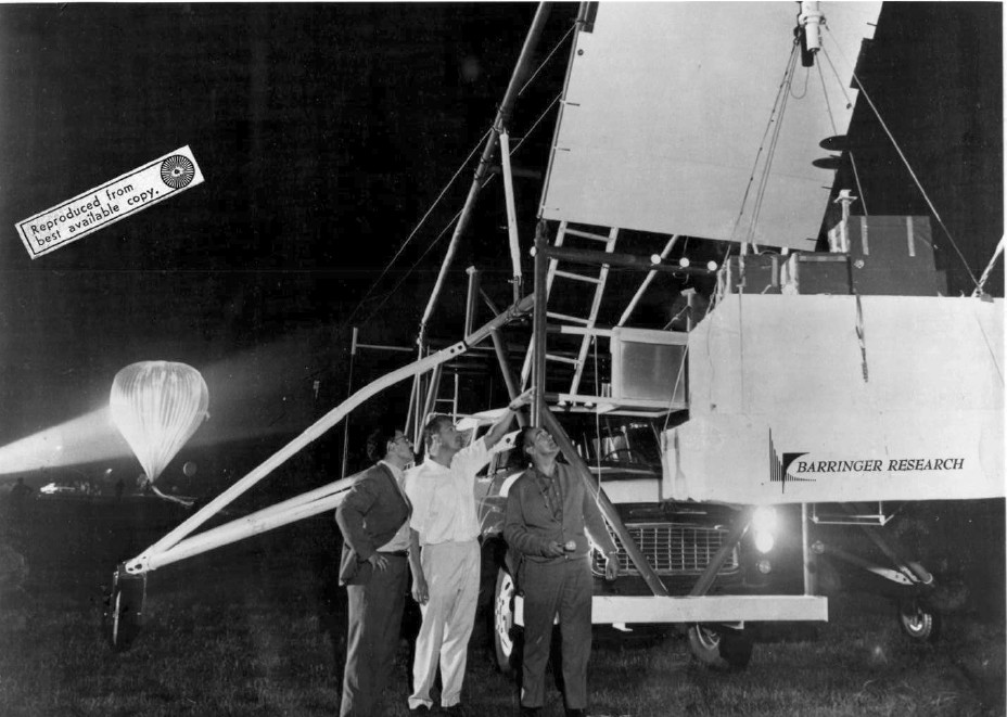 The payload hanging from the launch vehicle minutes before launch.