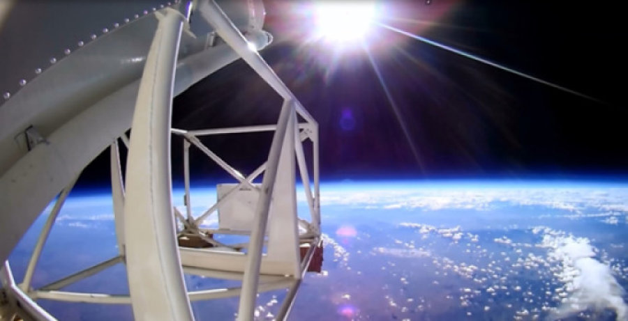 A view from the edge of space, taken by an onboard camera mounted on heroes gondola frame. (Image credit: R. Salter, Columbia Scientific Balloon Facility)
