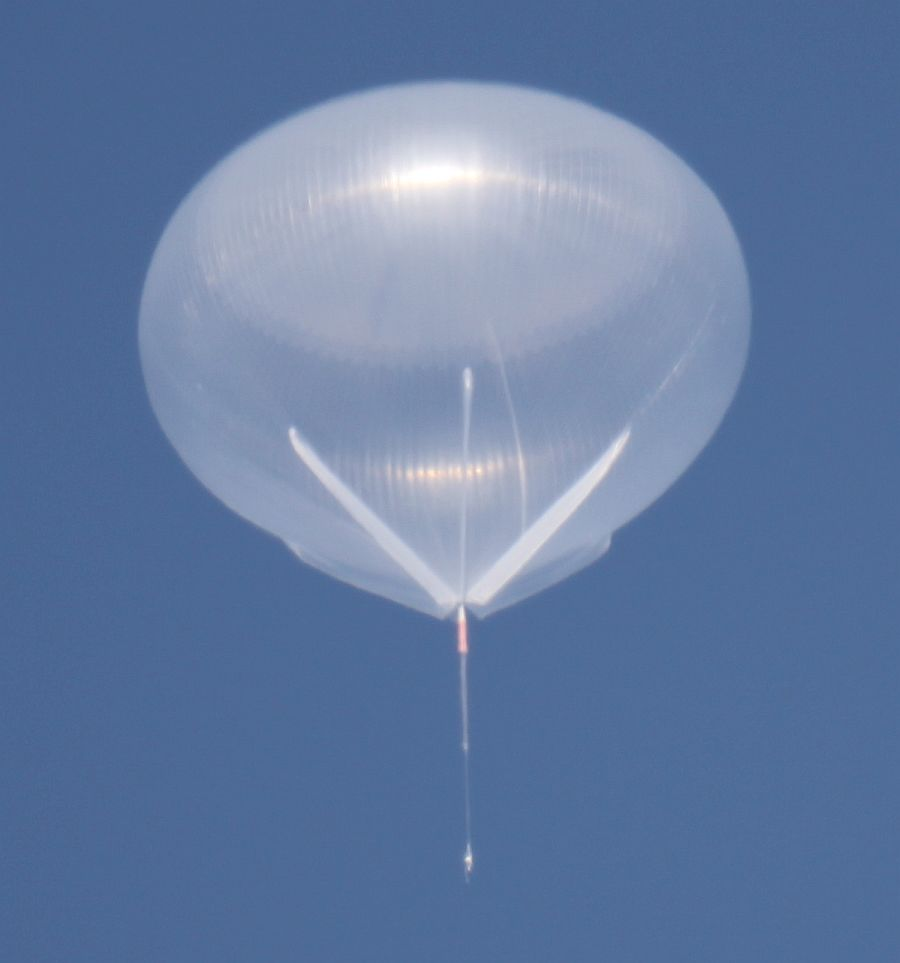 Impressive image of the LEE balloon fully expanded while flying at 41 km  (Courtesy: CSBF)