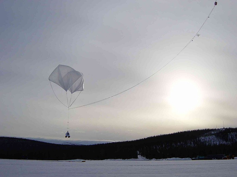 The auxiliary balloons are released and slowly lift up the gondola