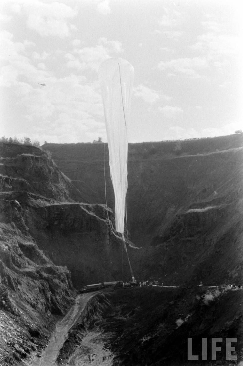 View of the launch site, the balloon is almost to be realeased (Image courtesy of LIFE archive on Google)