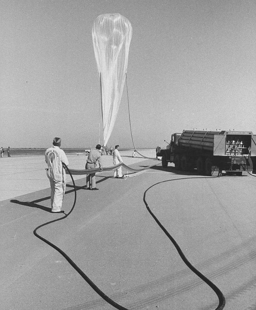 View of the balloon while inflating (Courtesy: LIFE Magazine)