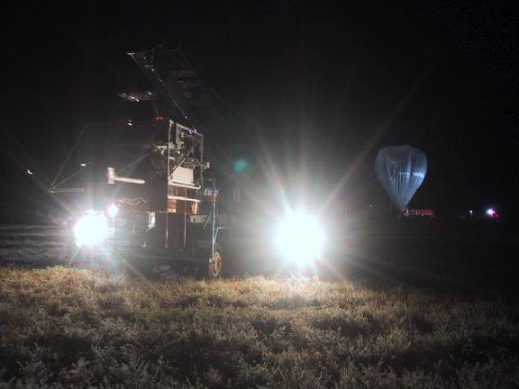 View of the launch vehicle in the background the balloon