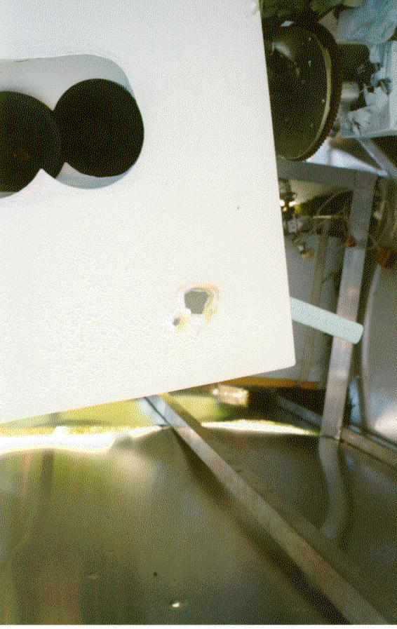 Detailed view of the gondola showing a bullet hole produced by the firing of two F-18 of the RCAF sent to down the balloon