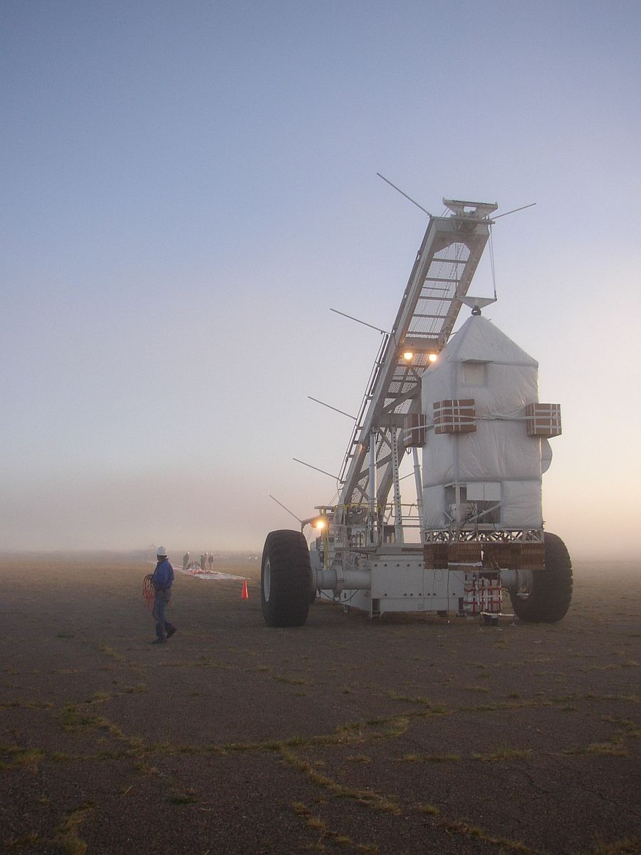 Pre-launch preparations in the middle of a fog bank