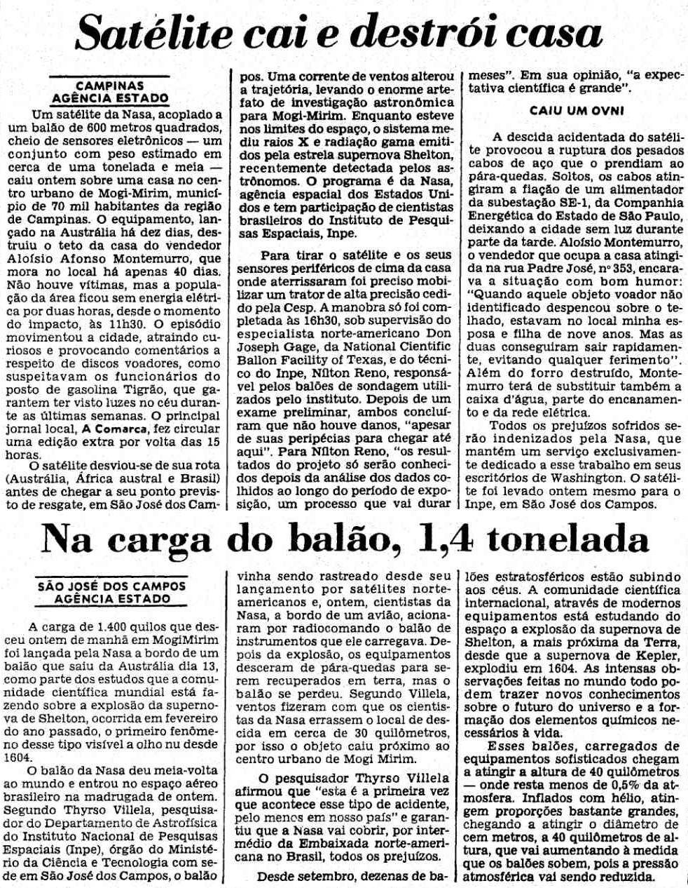 The news about the accidented landing of JACEE-8 published on Febraury 26 by the Estado de Sao Paulo journal