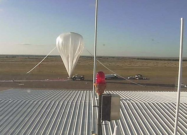 View of the near complete inflation process using the webcam at Fort Sumner (Image: StratoCat)