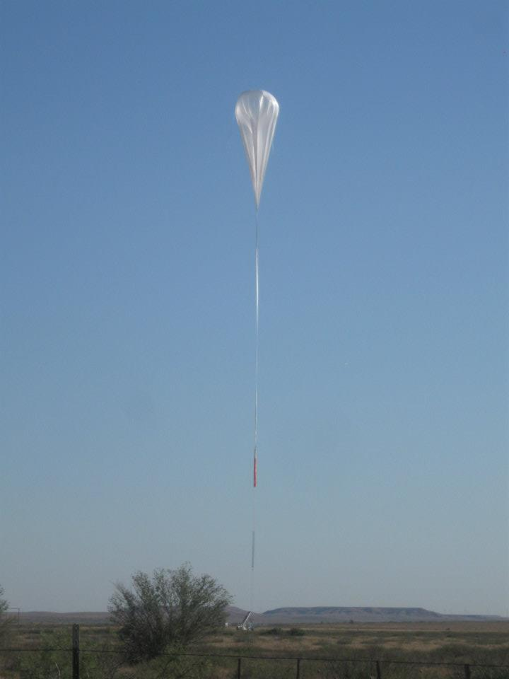 The balloon in the first part of the ascent (Picture: Ross Hays)