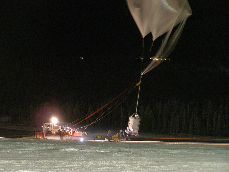 The instrument being lifted by the auxiliary balloon