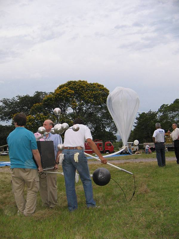 View of the launch field seconds before the balloon release
