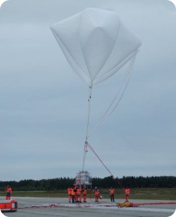 View of the H2O payload hanging from the auxilliary balloons (image: CNES)