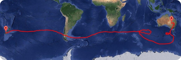 Complete flight path of the NASA super pressure balloon mission (image: NASA)
