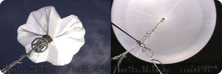 Two different phases of the balloon ascent taken by onboard cameras (image: NASA)