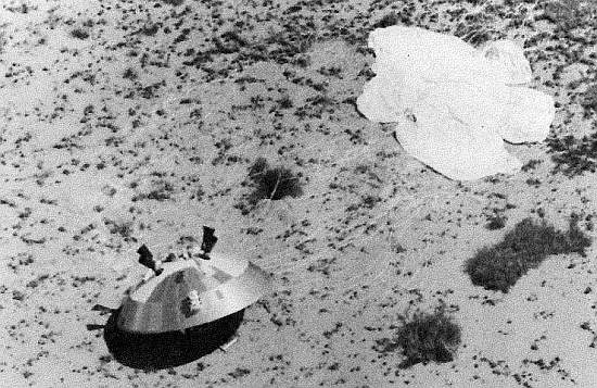 View of the VIKING module boilerplate after a balloon drop over White Sands in 1972 (Image: Nasa)
