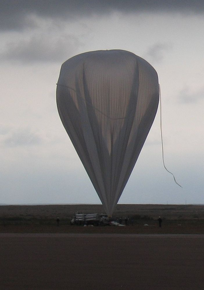 Under an overcast sky the test balloon is ready to be launched (Credit HASP team)