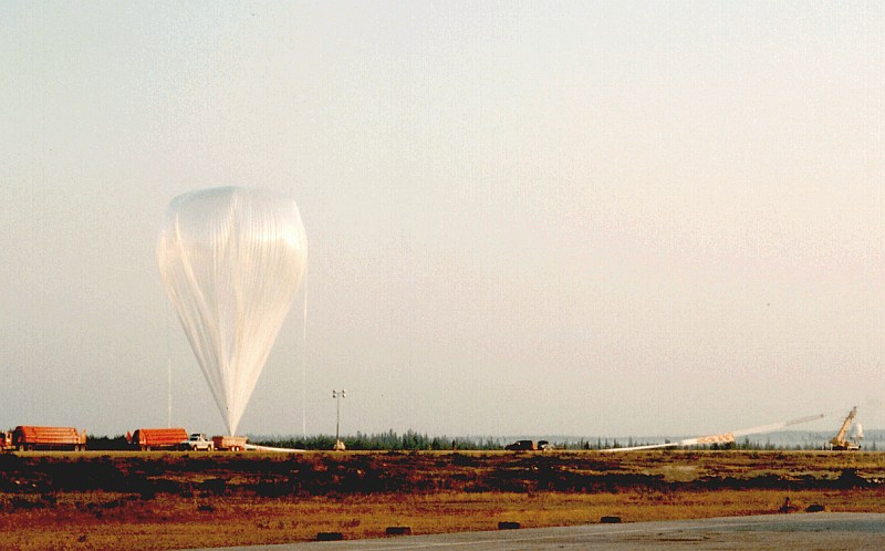 Balloon inflation and launch. Picture credit T. Hams