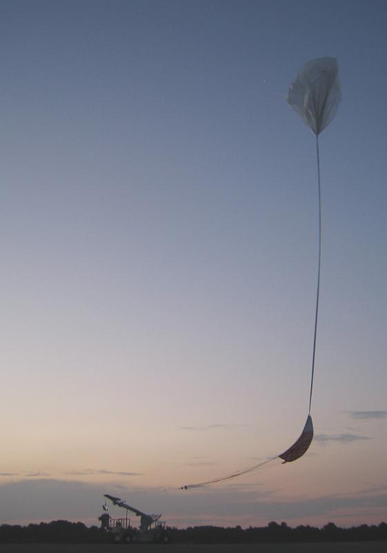 The balloon ascending seconds before take the payload airborne