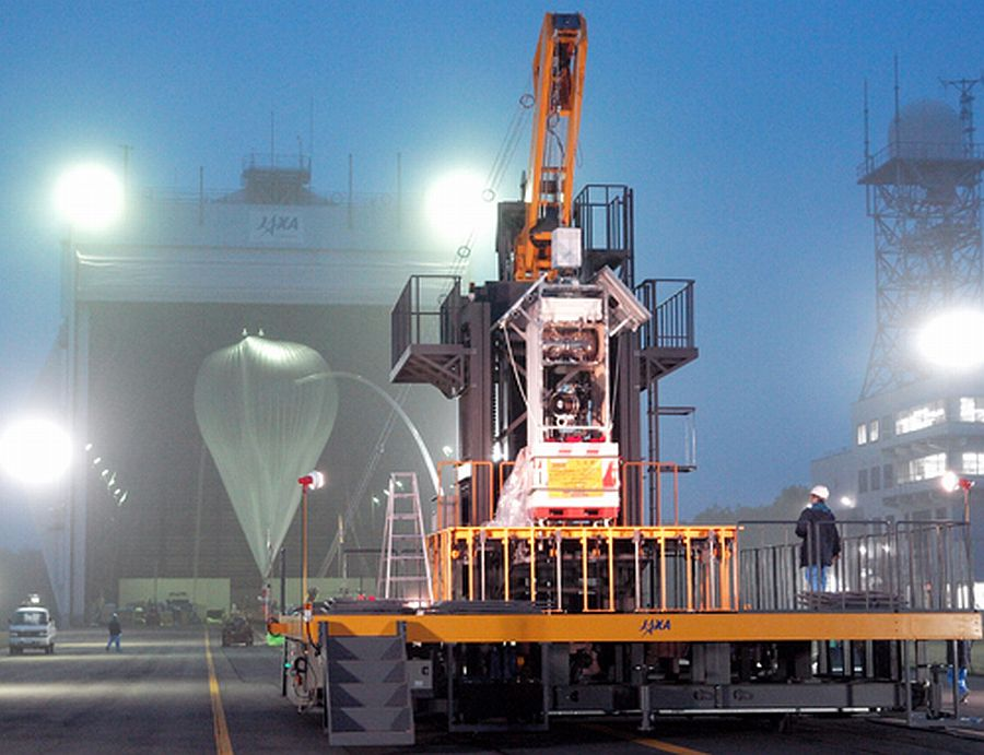 View of the launch platform. In the background can be seen the balloon being inflated inside the hangar. (Courtesy: JAXA)