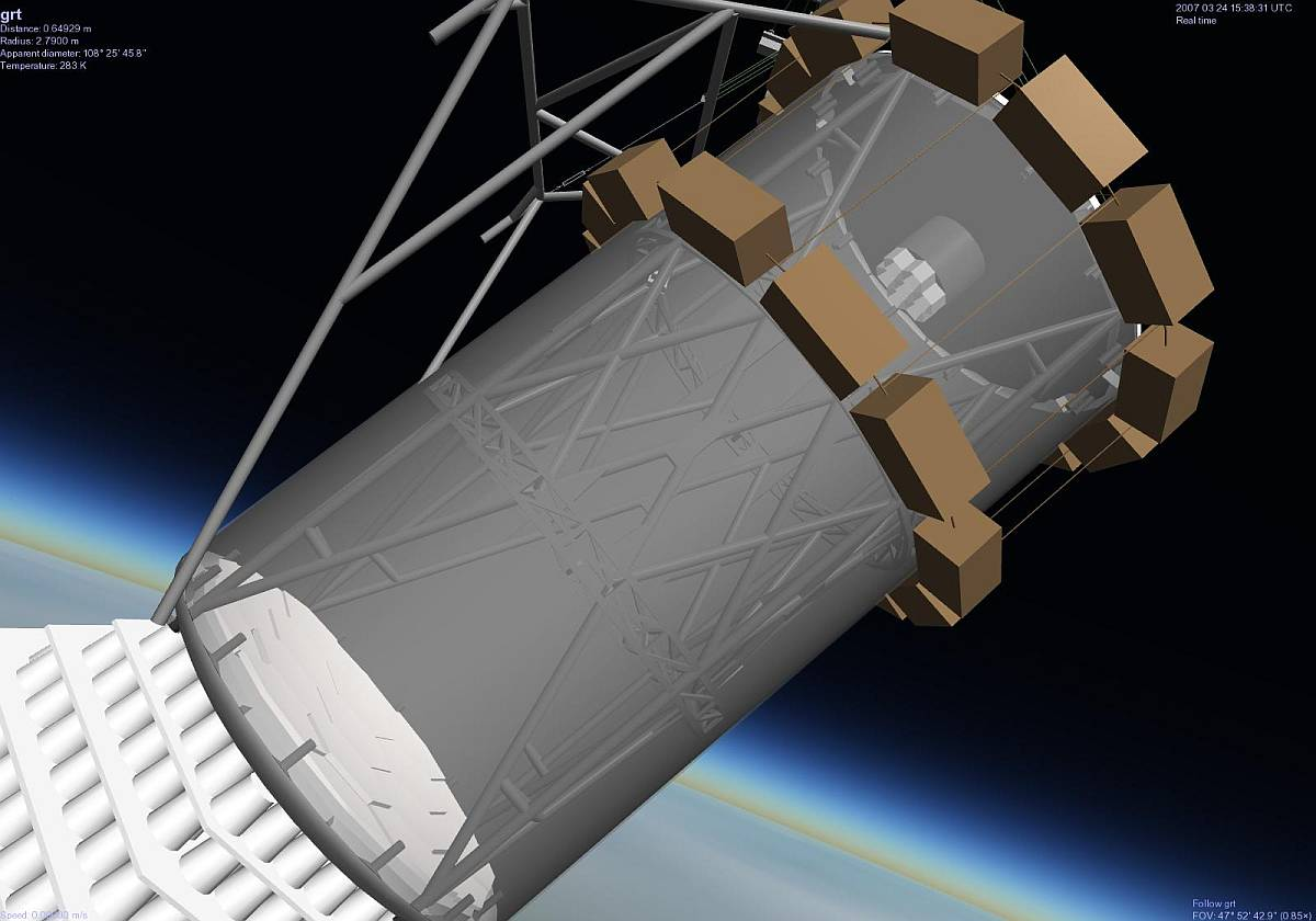 Digital generated image showing a detailed view of the telescope. Developed by Selden Ball for the Celestia Space Simulator