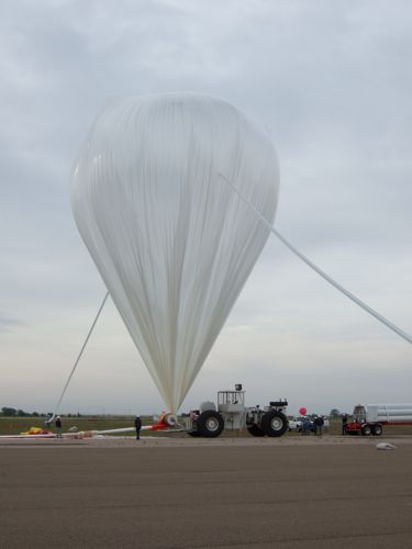 The balloon for the CREST mission near being full inflated (Image Courtesy: Eric Bellm)