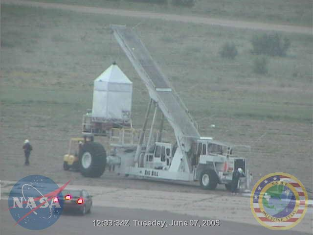 View of the launch vehicle from the NASA's web cam at Fort Sumner