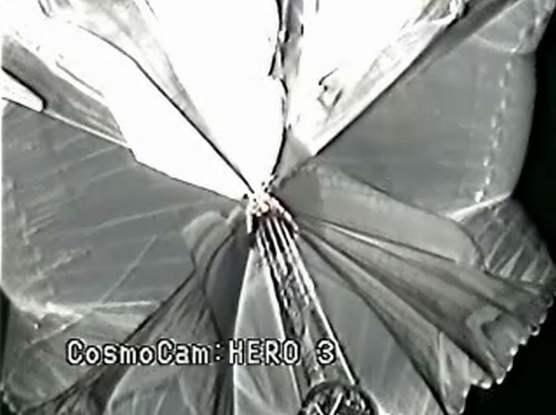 View of the balloon from the gondola. In this flight CosmoCam was used to examine in detail the failed balloon