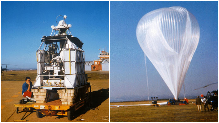 At right the LPMA gondola being readied for flight. At left a 402z model CNES balloon before the launch