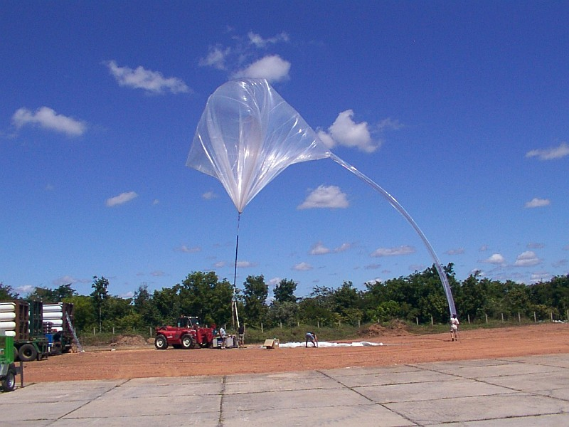Inflation of one of the two auxiliary balloons