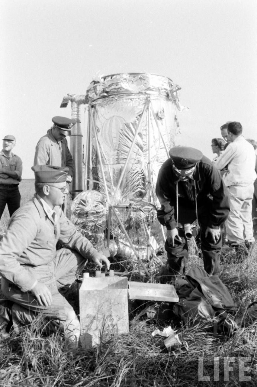 Colonel Stapp examinating the capsule remains in the landing field (Image courtesy of LIFE archive on Google)