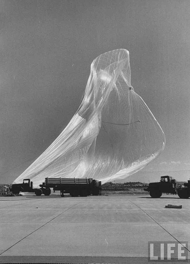 After being destroyed by a wind gust, the balloon fall over the launch pad (Courtesy: LIFE Magazine)