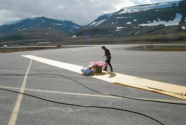 Launch preparation fron the air strip of the Longyearbyen airport